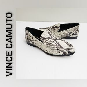 Vince Camuto Faux Snakeskin Loafers Black White 7M